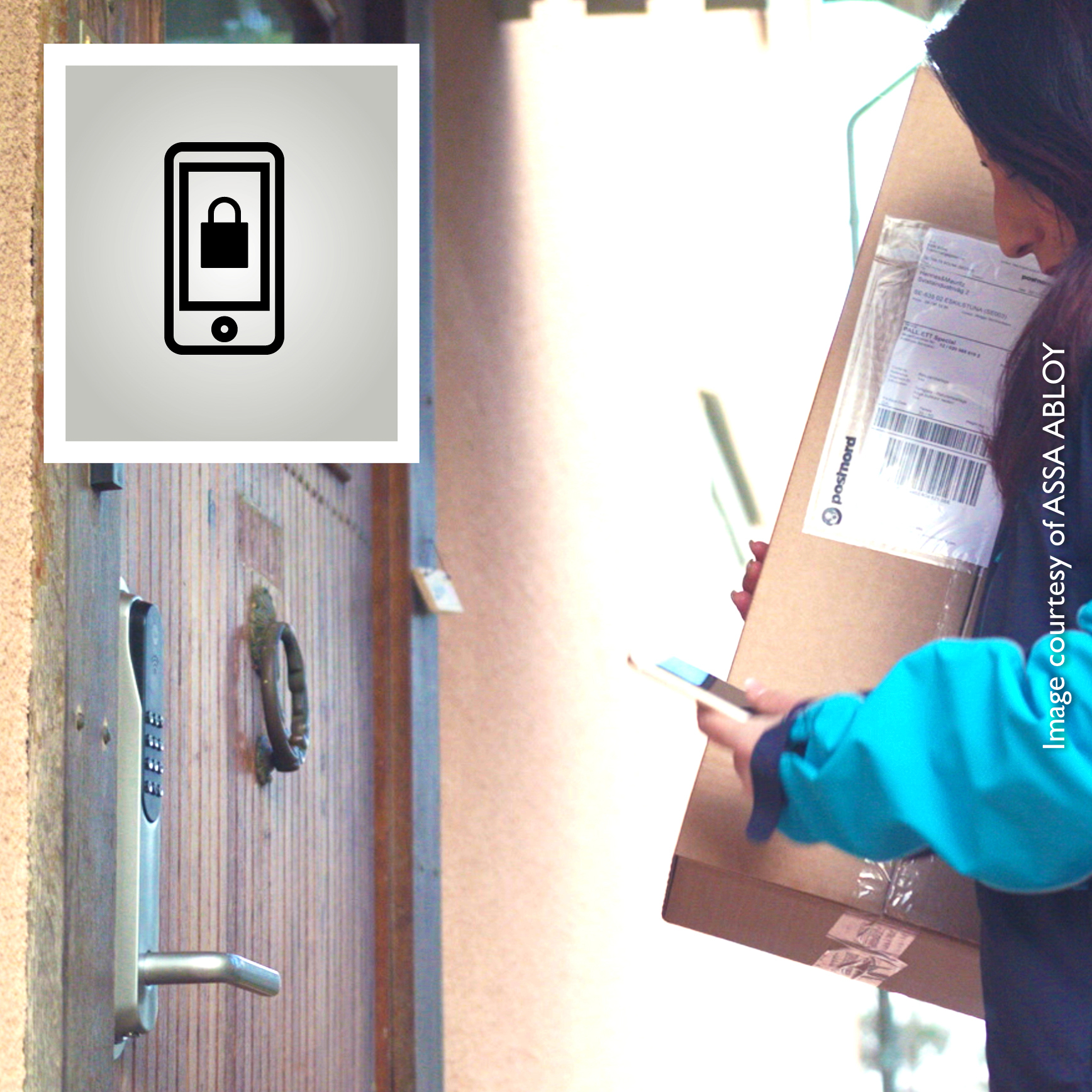 PostNord customers can have parcels delivered inside their door when it is equipped with an ASSA ABLOY smart lock. Authorised PostNord drivers receive a single-use PIN code to open the door.
