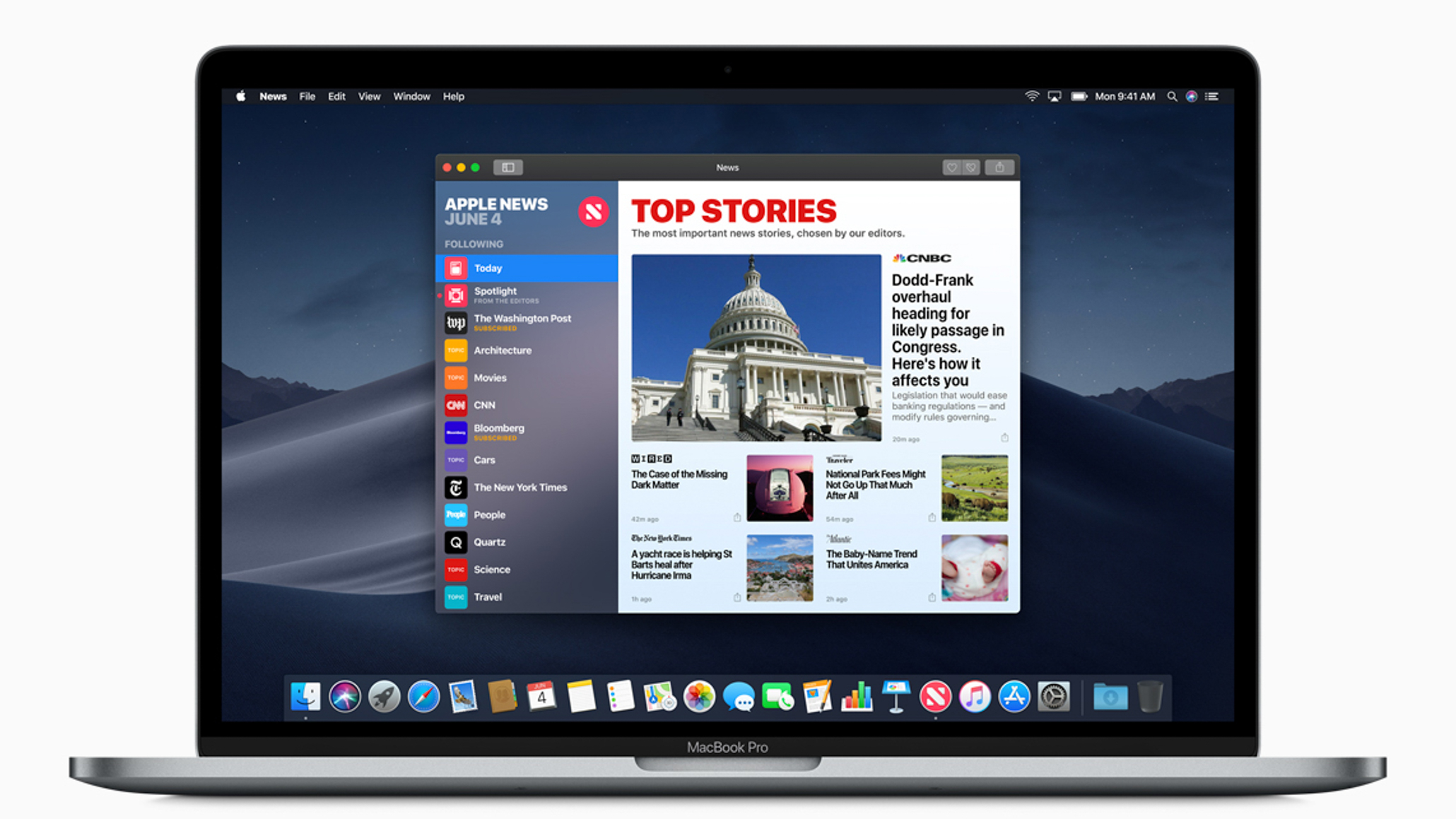 As part of Apple's ongoing effort to blur the distinctions between iOS and macOS, the iOS apps News, Stocks, and Voice memos also arrive on the Mac with Mojave. Image: Apple.