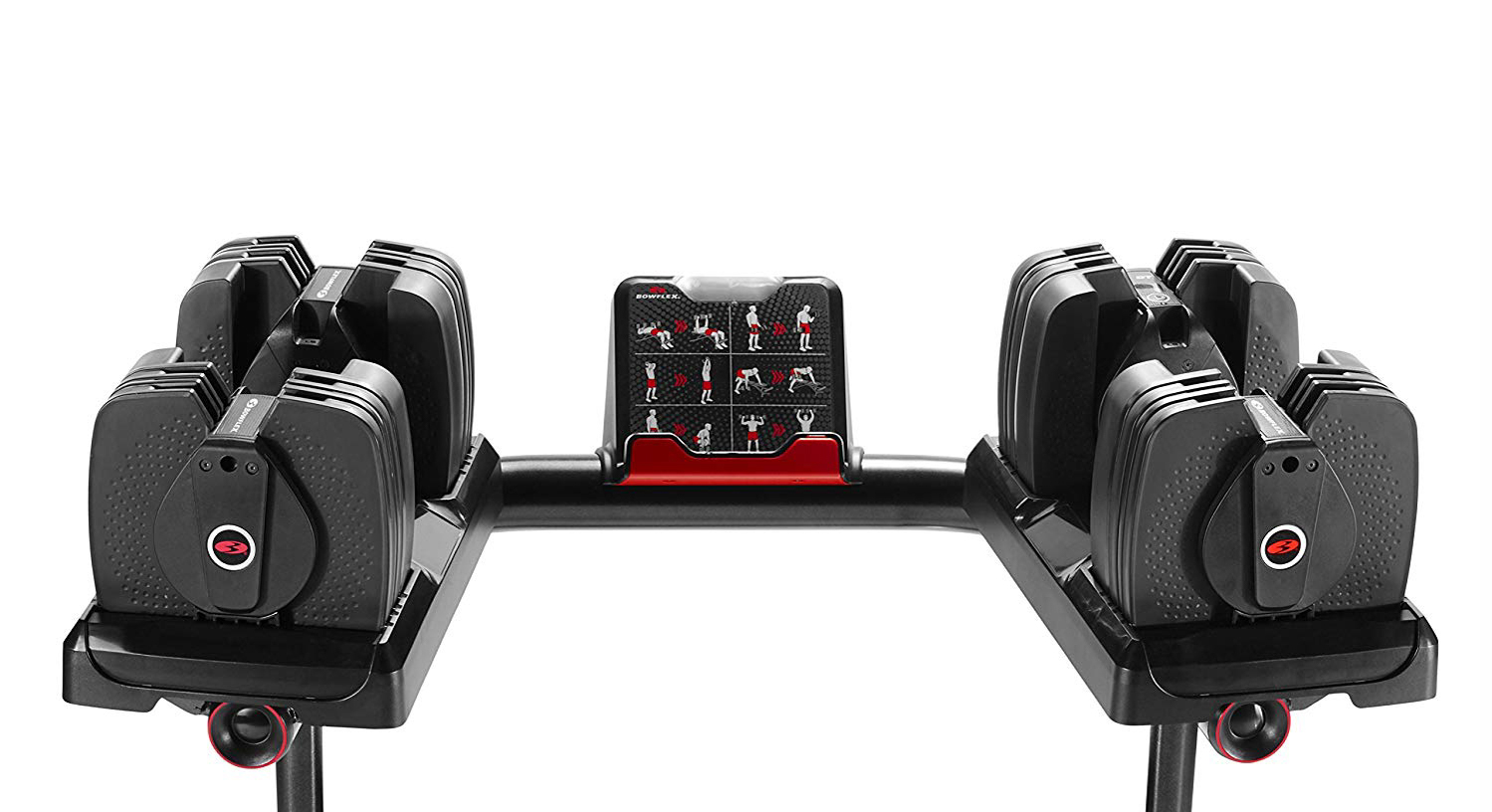 The Bowflex SelectTech 560 Dumbbells adjust from 5 to 60 sounds and communicate with smart devices through Bluetooth. Image: BowFlex.