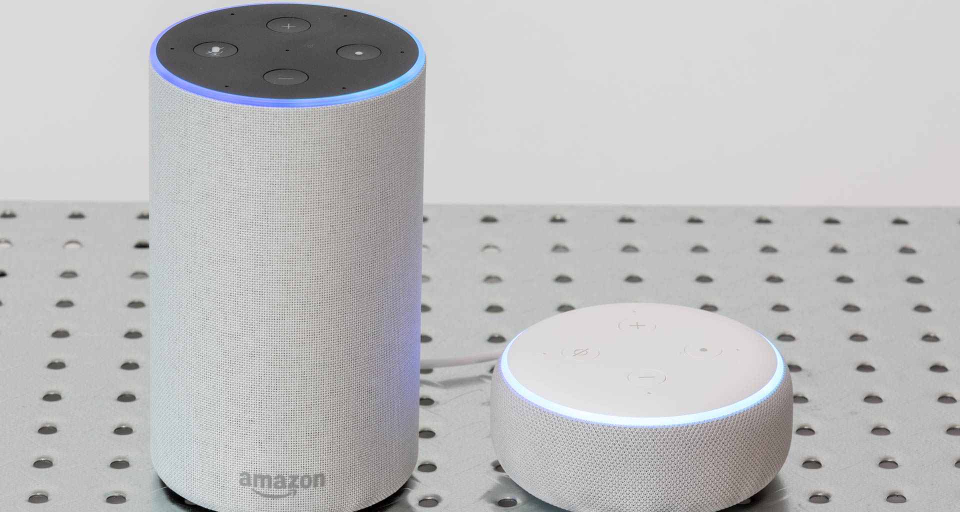 Amazon Echo (left, 2nd generation shown) and Echo Dot (3rd generation shown) speakers enable easy access to the Alexa digital assistant. Image: Digitized House.