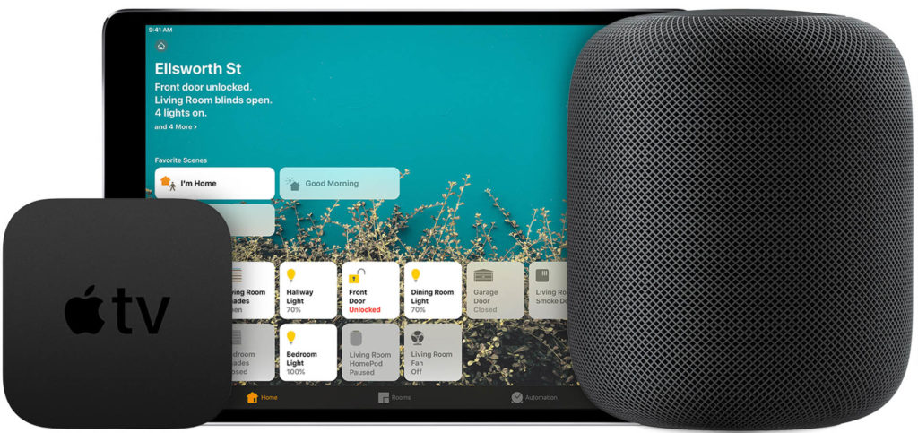 You may already have Apple devices in your home that can be set up as HomeKit Home Hubs. Apple TV, iPad, and HomePod devices can be used to enhance HomeKit functionality for all accessories.  Image: Apple.