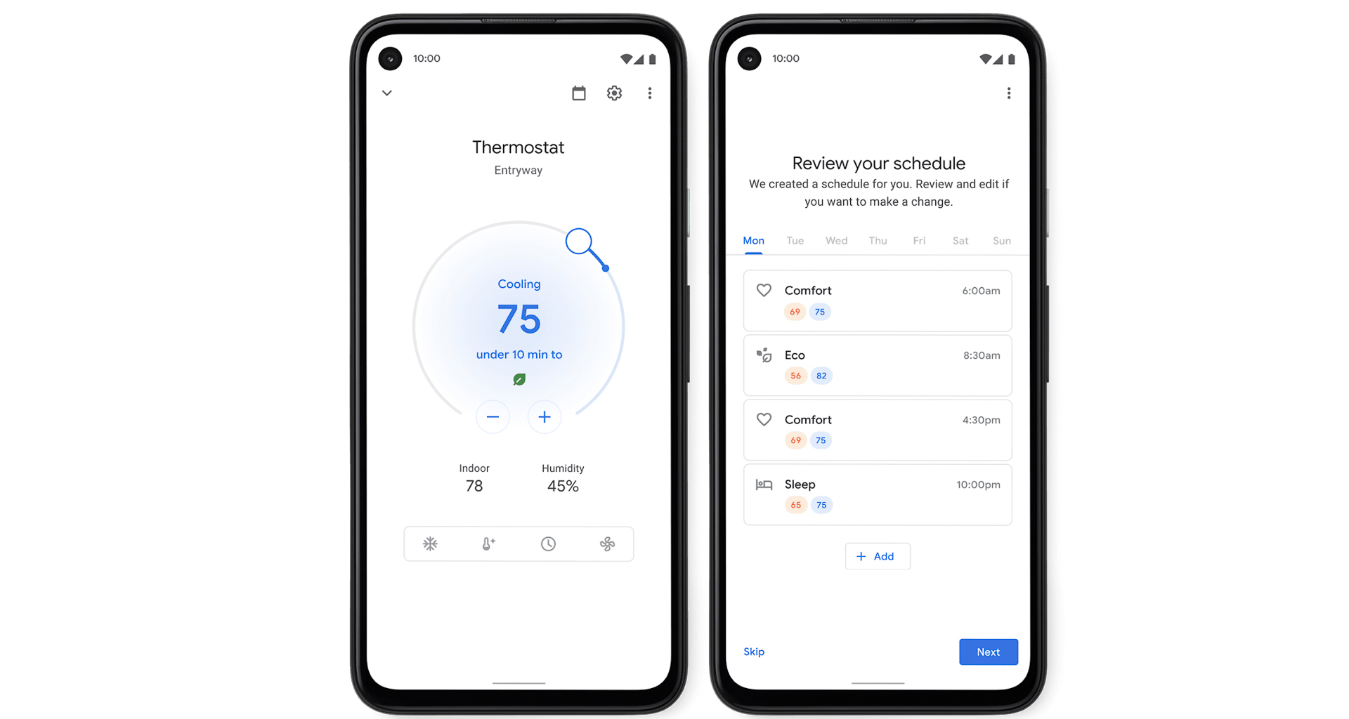 Smart thermostats are keen on helping you save energy, and app controls make it easy to control things and set schedules. Image: Google Nest.