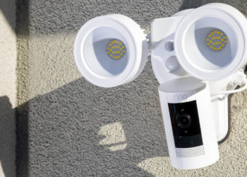 The Wasserstein Floodlight with Charger and the Ring Stick Up Cam Battery during testing. Image: Digitized House.